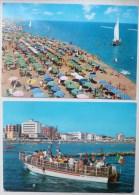 CP Lot 2x Gatteo Mare Villa Marina Hotels Beach Bateau Touristes Moby Dick Voyagé 1970 Timbre Italie Cachet - Italie