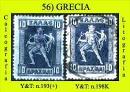 Grecia-056 (1911-23: Y&T N.193(+) E 198K - 10 Dracme, Calcografico E Litografico) - Greece
