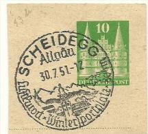 BRD Briefstuck Sonderstempel  Scheidegg Allgau Luftkurort Wintersportplatz 804 M 30/7/1951 - [7] West-Duitsland