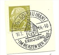 BRD Briefstuck Sonderstempel  Soltau (Han) Erholung In Herzen Der Heide 10/7/1954 - [7] West-Duitsland