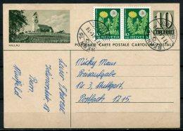 "Schweiz 1961Bildganzsache Mi.Nr.P199,10 Rap.graugrün""Hallau-""bef.""Bern- Stuttgart ,Germany""1 GS Used,bef. - Interi Postali"