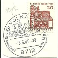BRD Briefstuck Sonderstempel  Volkach 8712 Weinstadt  Am Main 3/3/1966 - [7] West-Duitsland