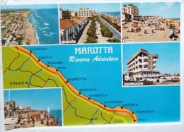Italie Marotta Multi Vues Souvenir Hotel Imperial Plan Voyagé Timbre Natale 1978 Cachet Poste - Pesaro