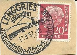 BRD Briefstuck Sonderstempel  Lenggries Sudbayern Sommerfrische + Wintersportplatz 700 M 17/8/1957 - [7] West-Duitsland
