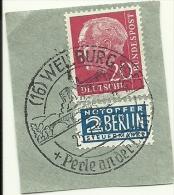 BRD Briefstuck Sonderstempel Wellburg Perle An Der Lahn 25/7/1955 - [7] West-Duitsland