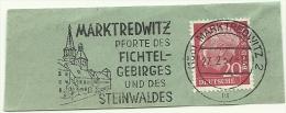 BRD Briefstuck Sonderstempel  Marktredwitz Pforte Des Fichtel-Gebirges Und Des Steinwaldes 27/2/1957 - [7] West-Duitsland