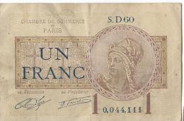 Ch. De Com. De Paris /  1 Franc /  1919     BIL101 - Chambre De Commerce