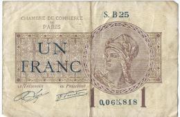 Ch. De Com. De Paris /  1 Franc /  1919     BIL102 - Chambre De Commerce