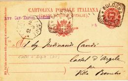 1901 - COLLETTORIA OTTAGONALE CASTEL D´ARGILE / BOLOGNA - CARTOLINA POSTALE CENT. 10 Mill. 99 - L2607 - Storia Postale