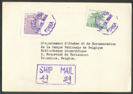 C.P. (Korean Agriculture Bank) Affranchie à 10+30ch. Obl. Violette SEODAIMUN 19 Février 1960 Vers Bruxelles  - 9415 - Corée Du Sud