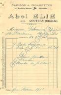 33 1372 COUTRAS GIRONDE 1911 MAISON ABEL ELIE Papiers � Cigarettes Marque l'  HIRONDELLE  � Mr CHAMONT de SAINT PARDOUX