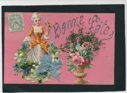 """FEMMES - FRAU - LADY - Jolie Carte Fantaisie Avec Ajoutis Femme Marquise Fleurs Et Ruban De """"Bonne Fête"""" - Femmes"""