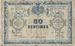 Ch. De Com. Et Ville De Rouen  / 50 Centimes / 1914-18      BIL107 - Chambre De Commerce