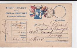 """1915 - CARTE POSTALE FM TYPE """"JOFFRE"""" Du SP N°8 Pour NEVERS Puis PARIS - Marcophilie (Lettres)"""