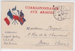 """1940 - CARTE POSTALE FM TYPE """"DRAPEAUX"""" MODELE 1940  Pour NEVERS - Marcophilie (Lettres)"""