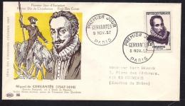 Env Fdc, 9/11/57 Paris, N°1134, Miguel De Cervantès, écrivain Espagnol, Don Quichotte De La Mancha - FDC