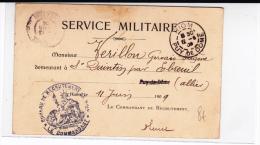 1909 - CARTE POSTALE NOTIFICATION De RECRUTEMENT De RIOM (PUY DE DOME) - Marcophilie (Lettres)