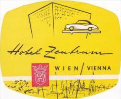 AUSTRIA HOTEL ZEUTRUM VINTAGE LUGGAGE LABEL - Hotel Labels