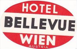AUSTRIA HOTEL BELLEVUE VINTAGE LUGGAGE LABEL