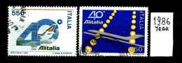 - ITALIA - REPUBBLICA - Serie Completa - Year 1986 - 40° Annivers. ALITALIA - Viaggiato - Traveled - Reiste - 6. 1946-.. Repubblica