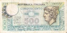 BILLETE DE ITALIA DE 500 LIRAS DEL AÑO 1976 -MEDUSA  (BANKNOTE) - 500 Lire