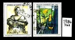 - ITALIA - REPUBBLICA - Serie Completa - Year 1986 - Arte Italiana -12° Serie - Viaggiato - Traveled - Reiste - 6. 1946-.. Repubblica