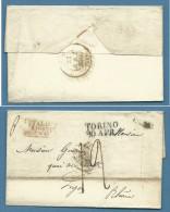 1836  LETTERA PREFILATELICA DA TORINO A LIONE   -  TRANSITI E TASSAZIONI INTERESSANTI - Italia