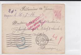 """1916 - PRISONNIERS De GUERRE - LETTRE De PARIS Pour Le STALAG De MÜNSTER Avec RARE CENSURE """"UNBEANSTANDET"""" - Guerre De 1914-18"""