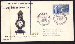 Env Fdc, 23/3/57 Sèvres, N°1094, Bicentenaire De La Manufacture Nationale De Sèvres, Horloge, Biscuit - 1950-1959