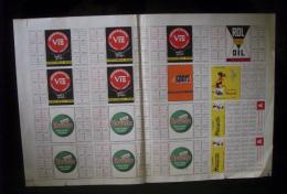 """Foglio Calendarietti Ancora Da Tagliare """"Calendario CALCIO Serie A 1953/1954. Pubblicità ROVETA/Mosquito/Rol Oil/Vis"""" - Calendari"""