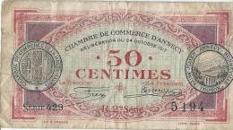 Chambre De Commerce D´Annecy /50 Centimes/Annecy/Bonneville/Thonon /Saint Julien /1917    BIL116 - Chamber Of Commerce