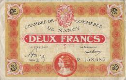 Chambre De Commerce De NANCY/Deux  Francs/1919   BIL120 - Chamber Of Commerce