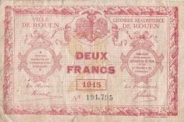 Chambres De Commerce Et Ville De ROUEN/deux  Francs/1915   BIL122 - Handelskammer