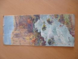 Belle Aquarelle Signée Joubert Hervé Ou Henri Sur Papier Dessin 10.4 X 24 Cm.Cascades à Identifiées. - Aquarelles