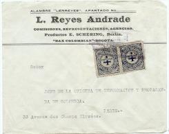 LBL20/5- COLOMBIE PAIRE SE TENANT SUR  LETTRE A DESTINATION DE PARIS - Colombia