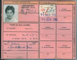 S.A. DES TRAMWAYS UNIFIES DE LIEGE ET EXTENSIONS - Abonnements D'employé 1 A.R. (1959) - Season Ticket