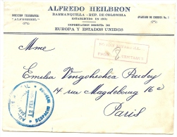 "LBL20/5- COLOMBIE AFFR.T DE FORTUNE ""NO HAY ESTAMPILLAS"" SUR LETTRE BARRANQUILLA / PARIS 12/2/1926 - Colombia"