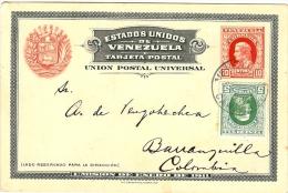 LBL20/5- VENEZUELA EP CP 10c + COMPL.T 5c  CARACAS / BARRANQUILLA JANVIER 1912 - Venezuela