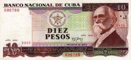 Cuba 10 Pesos 1991 Pick 109.a Xf Rare Banknote - Cuba