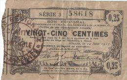 Bon Régional/départements De L´Aisne, Des Ardennes Et De La Marne/ 25 Centimes/1917      BIL115 - Bonds & Basic Needs