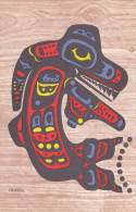 """AS: C. B. Gruel, Colored """"Killer Whale"""" Totem Pole, Crests Of The Haida Indians, Queen Charlotte Island, Canada, 20-30s - Native Americans"""