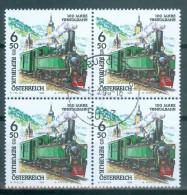 Österreich - ANK-Nr. 2286 Viererblock Eisenbahnen 100 Jahre Ybbstalbahn Gestempelt - Eisenbahnen
