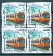 Österreich - ANK-Nr. 2288 Viererblock Eisenbahnen 100 Jahre Pinzgaubahn Gestempelt - Eisenbahnen