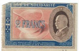 Bon De Solidarité/Occupation/PETAIN/2 Francs/1940-1944            BIL106 - Bons & Nécessité