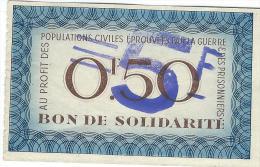 Bon De Solidarité/Occupation/Population Civiles éprouvées Par La Guerre/0,50 Francs/1940-1944            BIL105 - Bons & Nécessité