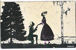 AK SILHOUETTE PAARE  WSSB.Nr-.5712. SIGNIERT : MANNI GROSZE , OLD POSTCARD 1923 - Silhouettes