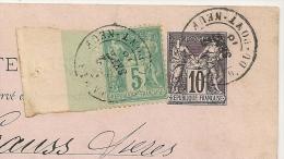 SAGE 5C GRAND BORD De FEUILLE Sur ENTIER  10C PARIS R. Du PONT NEUF Pour La SAXE. RARE AINSI ! - 1877-1920: Periodo Semi Moderno