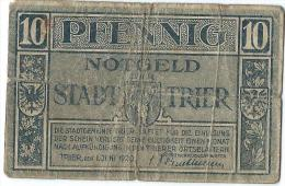 Notgeld Stadt TRIER/ 10 Pfennig / 1920        BIL113 - [11] Local Banknote Issues