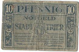 Notgeld Stadt TRIER/ 10 Pfennig / 1920        BIL113 - [11] Lokale Uitgaven