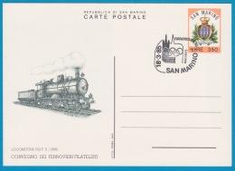 San Marino - 18.03.1985 - Olymphilex '85 - Convegno Dei Ferrovieri Filatelisti - Locomotiva 552 FS Ferrovie Dello Stato - Entiers Postaux